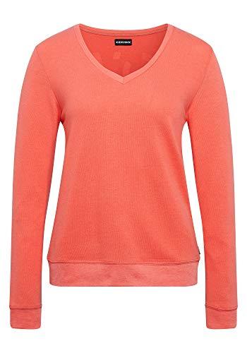 Chiemsee Damen V-Ausschnitt und Love-Print Sweatshirt, Hot Coral, XS