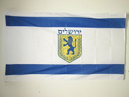 AZ FLAG Flagge Jerusalem 90x60cm - Jerusalem Fahne 60 x 90 cm Scheide für Mast - flaggen Top Qualität