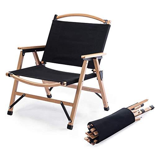 TOMOUNT クラシックチェア 木製 ウッド アウトドア チェア コンパクト収納 脚キャップ 折りたたみ椅子 耐荷重100kg キャンプ お釣り 登山 携帯便利 (黒)