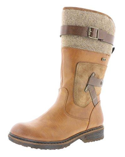Rieker Damen Klassische Stiefel 94761,Frauen Boots,Reißverschluss,Blockabsatz 3.8cm,Cayenne/REH/testadimoro/Wood, EU 41