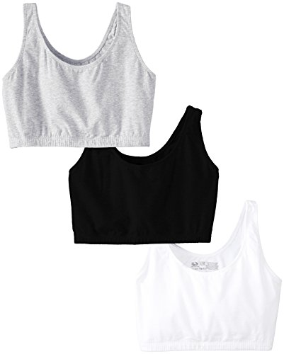 Fruit of the Loom Womens Tank Style Sports Bra, Black/White/Heather Grey - 3 Pack, 50