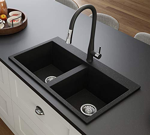 Black Kitchen Sink Lavello Elle 200T 32' - Kitchen Sinks Drop In - Double Kitchen Sink - Granite Sink - Drop In Kitchen Sink - Composite Sink - Top Mount - Double Bowl