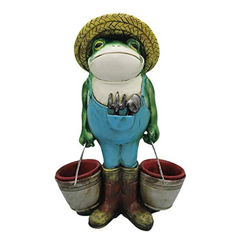 A FEI Estátua de jardim sapo com balde de flores ornamentos de resina para ambientes internos e externos