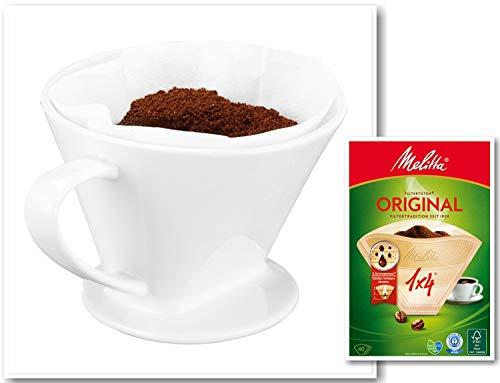 One and Go Feelino GR.4 Porzellan Permanent Kaffee Filteraufsatz inkl. 40 St. Melitta 1x4 Kaffeefilter, Filter Handfilter Kaffeefilter Dauerfilter für 2-4 Tassen, Weiß