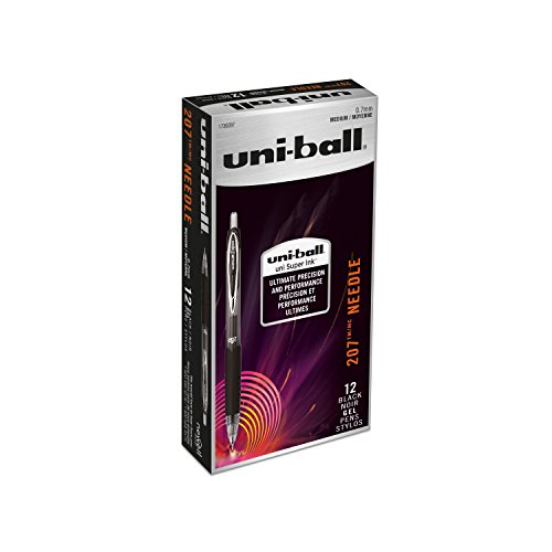uni-ball 207 Needle Retractable Gel Pens, Medium Point (0.7mm), Black, 12 Count
