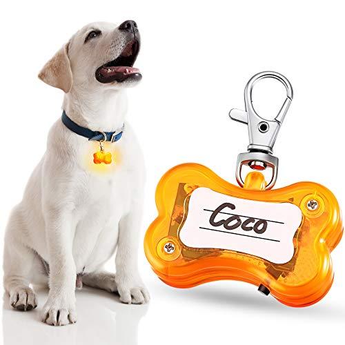Clip de Luz LED de Seguridad Perros Luz de Placa Perro de Hueso Luz de Collar de Perro Flash Luz de Collar Mascotas Impermeable en 3 Modes de Brillar para Perros Paseos Nocturnos (Naranja)