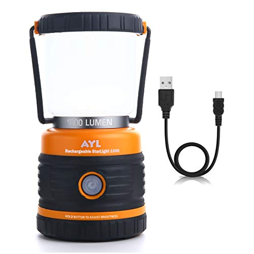 AYL LED Camping Lantern Rechargeable, 1800LM, 4 Light Modes, 4400mAh Power Bank, IP44 Waterproof, Perfect Lantern Flashlight for Hurricane, Emergency, Power Outages, Home and More, USB Cable Included