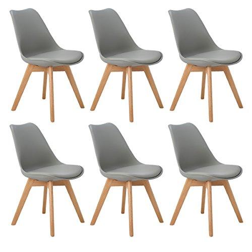 DORAFAIR Set di 6 Moderne Sedie da Pranzo,Tulip Pranzo/Ufficio Sedia con Gambe con Gambe in Quercia Massiccio e Cuscini in Finta Pelle,Grigio