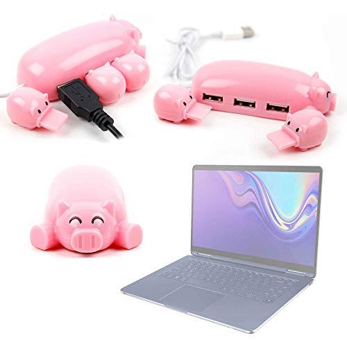 """DURAGADGET Divisor/Distribuidor USB con Forma de cerditos para Portátil Samsung Notebook 9 Pen 13"""" 3 Puertos."""