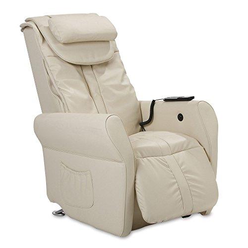 maxVitalis Massagesessel, Fernsehsessel mit Wärmefunktion, Shiatsu-Massage, Elektrische Aufstehfunktion, 5 Massagezonen, intelligenter Körperscan, praktisches Seitenfach (Creme)