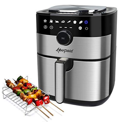 Hoepaid Air Fryer No Oil Stainless Steel Oven with 56QT Non-Stick Basket and Rack Roast Bake and Dehydrate Dishwasher safe 8 Preset Modes 1750W