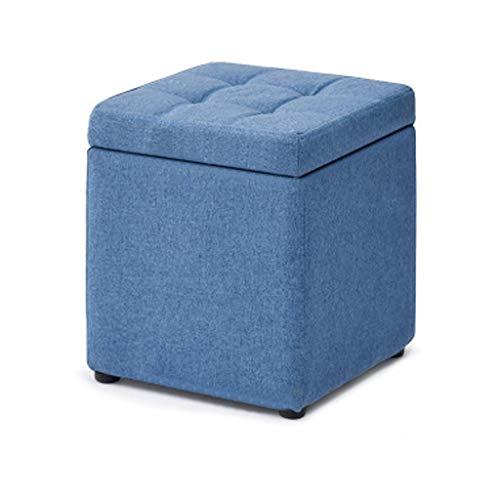 TBSHX Banco Pie De Cama, Puff Infantiles Puff Salon Moderno Taburete De Almacenamiento con Asiento Acolchado Plegable reposapies Sofa Taburete almacenaje (Color : Blue B)
