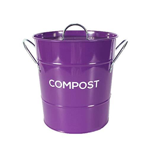 Contenedor De Compostaje De Cocina Interior Ideal para Restos De Comida Mangos De Cubo De Plástico Limpio Extraíble, Diseño Retro Duradero Basura De Desperdicios De Comida Púrpura compostador