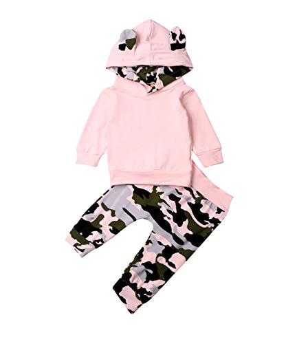Hailouhai Herbst Winter Neugeborenen Baby Mädchen Nette Mit Kapuze Langarm Sweatshirt Outfits + Print Hose Stirnband Kleidung 3 Stücke Set (6-12 Monate, Rosa#)