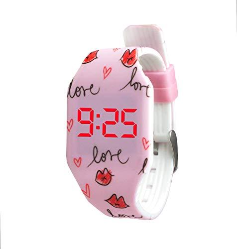 KIDDUS Reloj LED Digital para niña o niño. Pulsera de Silicona Suave para niños y Adultos. Batería Japonesa reemplazable. Fácil de Leer y Aprender Las Horas