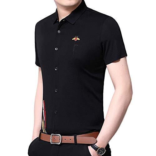 Camisas de Manga Corta para Hombre Camisas de Manga Corta Bordadas entalladas de Tendencia de Verano Camisas Simples e Informales de Todo fsforo 185