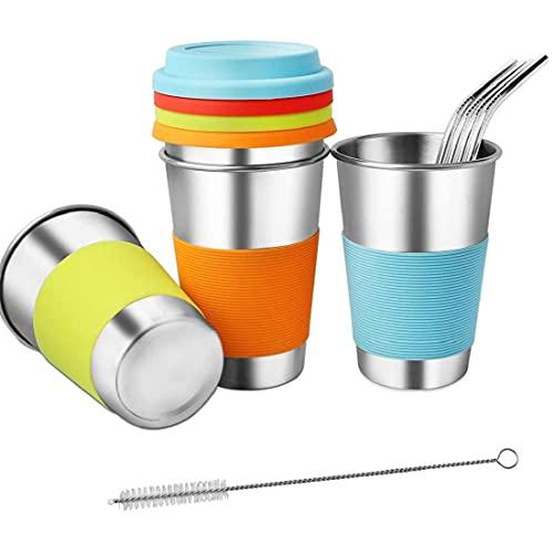 DierCosy Vaso con Travel Paja de café Copa de Paja de Acero Inoxidable Taza de Agua con Tapa a Prueba de Fugas Paja por Potable 4PCS Regalo 500ml