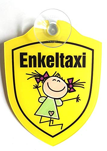 Schilder Lustige Windschutzscheibe inkl. Saugnapf/Autoschilder-Baby on Bord,Enkeltaxi (Enkeltaxi Mädchen)