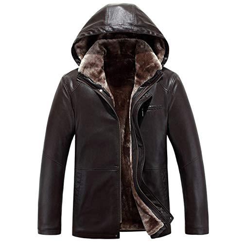Russischer Winter Minus 30 Grad Kunstlederjacken Männer mit Kapuze Verdicken Warmer Ledermantel Hochwertige Luxus-Lederjacken Herren-Brown_M