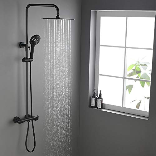 BULUXE Thermostatic Rectangular 12 x 8 Inch Rainfall Shower System with Handheld Shower (Exposed Mounting, Matte Black)