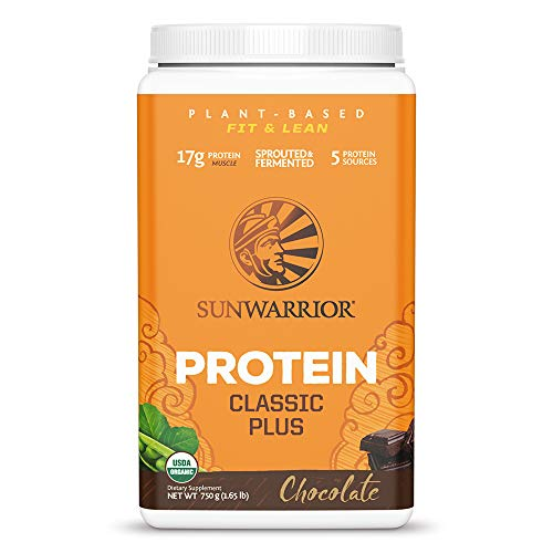 Sunwarrior Classic Plus Organic Vegan Protein Powder with BCAAs and Pea Protein, Dairy Free, Gluten Free, Soy Free, Non- GMO, and Keto Friendly, (Chocolate, 30 Servings)