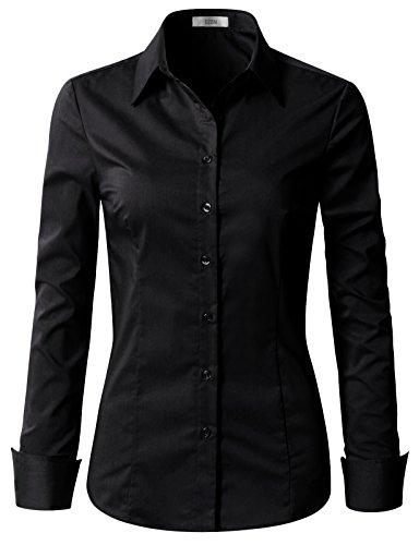 EZEN Womens Simple Solid Long Sleeve Button Down Dress Shirt Black Large