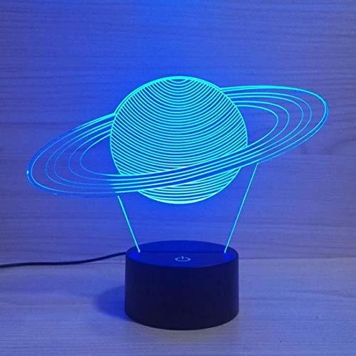 Sistema Solar HNXDP Mordel 3D Night Light LED Acrílico Stereo Vision 3D Lámpara 7 colores que cambian USB DormitorioEscritorio Lámpara de mesa