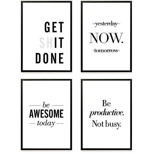 Heimlich ® Premium Poster Set | Stilvolles Set mit passenden Bilder in Schwarz-Weiß | 4 Stück in DIN A3 (30x42cm) | ohne Bilderrahmen » Motivation «