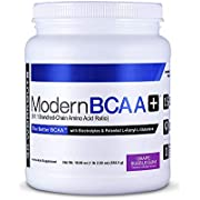 Modern BCAA+ Essential Amino Acid (EAA) Branched Chain Amino Acid (BCAA) Muscle Recovery Supplement Powder Drink Mix, Grape Bubblegum - 30 Servings