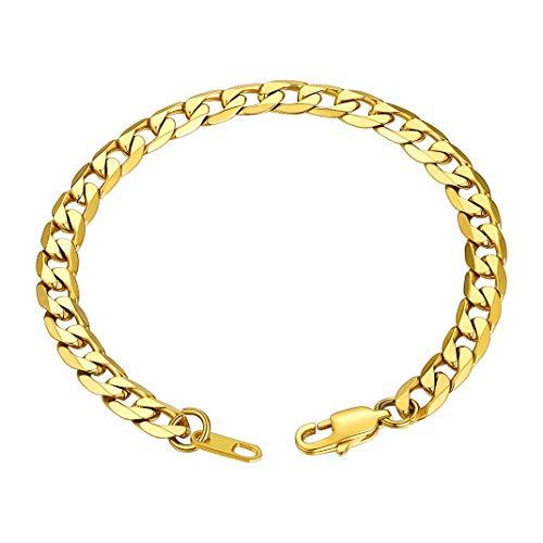 GOLDCHIC JEWELRY Bracciale da Uomo in Oro 6 MM, Bracciale a Maglie Grosse in Acciaio Inossidabile 316l da 21 Cm