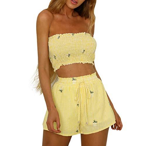 TWBB Damen 2-teilige Outfits 2020 Summer Off Shoulder Bandeau Tube Crop Top mit Shorts Set Outfits Mode Frauen Mädchen drucken Schulter Weste Tanktops + Shorts Bandage Hosen Set