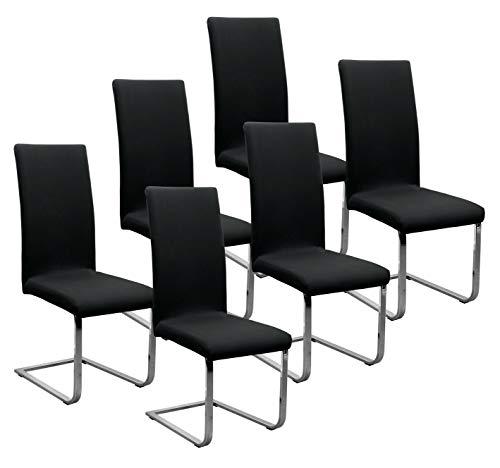 BEAUTEX Jersey Stuhlhussen Sets, elastische Stretch Husse Baumwolle Bi-Elastic, Farbe wählbar (Schwarz 6er Set)