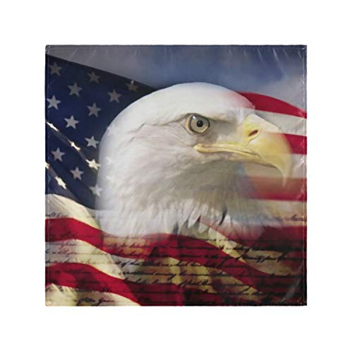 RAUP Satin Napkins Set of 6, Digital Composite American Bald Eagle Flag,Square Printed Party & Dinner Cloth Napkins,20' X 20'