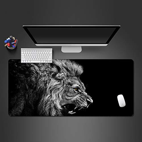 Brüllender Löwe Tier Mauspad Schloss Seite Anti-Rutsch-Mauspad Tastatur Computer Mauspad hochwertige Laptop große Desktop-Pad Mauspad von Computer und Büro 600x300x2