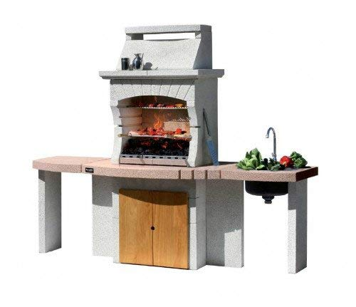 Barbecue Sunday model TANGERI Crystal in masonry, works with both wood and charcoal.