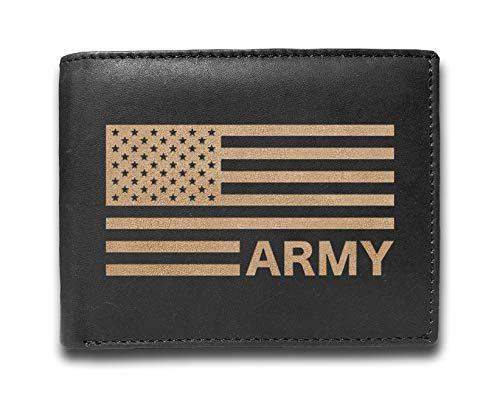Liam Carlton Herren-Geldbörse mit US-Flagge, Militärhelden, ein perfektes Geschenk für ihn, Leder, lasergraviert, schlankes Design, 14 Fächer, einzigartiges Geschenk