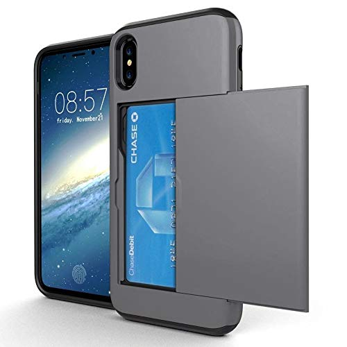 OMD iPhone X Case, iPhone Xs Case, [Double Card Holder Slot] ShockProof Wallet Protective Phone Cover with Tough Heavy Duty Silicone Card Case for iPhone X [2017] / iPhone Xs [2018] - GunMetal