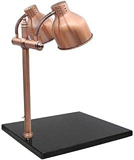 F-JX Lámpara de conservación de Calor para Alimentos con Base de mármol, Luz de Calor de la lámpara de Calor, Lámpara calefactora de Pizza para Buffet de Comidas,Brass,BlackBase