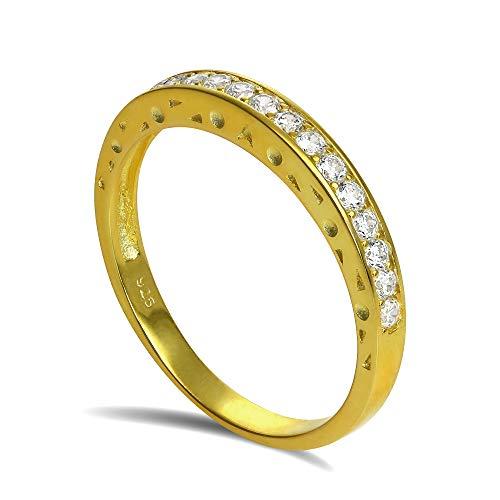 Anello in argento Sterling laminato oro 18kt veretta di pietre CZ - misura 10 (disponibile nelle misure dalla 8 alla 23)