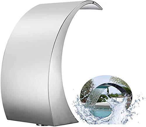 NHAO Pool Wasserfall Brunnen, 400mm x 200mm Silber Edelstahl Brunnen für Boden Pools Garten Outdoor Wasserfälle Sheer Descent Pond Wasserspiel