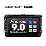 Car Setreo Car Radio Android 9 32GB ROM Head Unit for Volkswagen/SEAT/Skoda Compatible with Fender System Support Apple Carplay/Android Auto/Bluetooth 5.0/WiFi/Fast Boot/Backup Camera/OBDII -GA9353