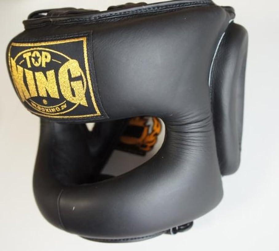 睡眠消去有効トップキング TOP KING キックボクシングフルフェイス ヘッドギア 黒 Mサイズ