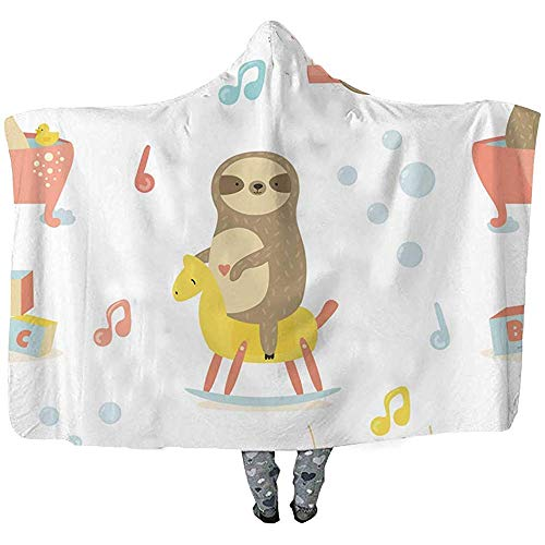 Just Life Seamless Baby Pattern with Cute Sloths Throw Wearable Hooded BlanketDouble Thickening Wearable Blanket,Rocking Horse and Toys