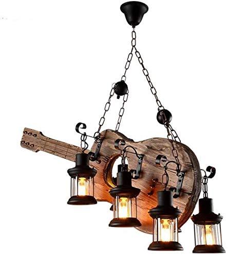 FANLIU Colgante de la vendimia de luz lámpara de hierro forjado de madera retro luz pendiente Industrial Mesa de billar Cocina Comedor Cafetería Bar 6 luces Suspensión accesorio de iluminación de luz