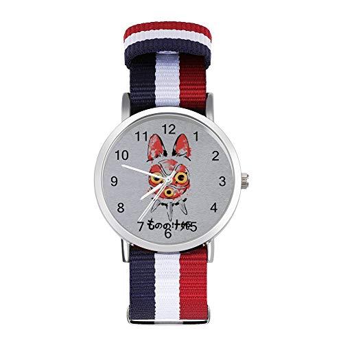 Wolf Mädchen Maske Prinzessin Mononoke, Freizeit-Armbanduhr, geflochtene Uhr mit Skala