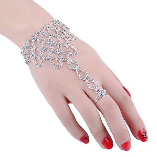 2 piezas de moda mujer niña rhinestone mano arnés pulsera pulsera esclavo cadena enlace dedo anillo pulsera (patrón A)