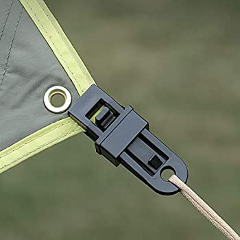 MENGON 12pcs Pince à Bâche avec Mousqueton D Clip Tente Camping en Plastique Noir Clips Auvent avec Crochet pour Canopy Couverture Toile Activité Extérieur Pique-Nique Randonnée
