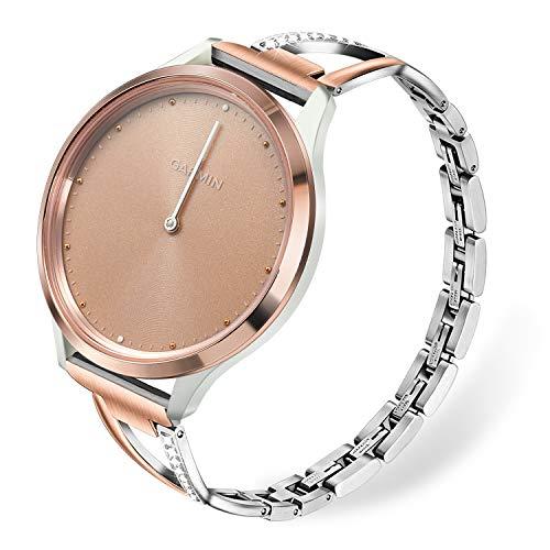 TRUMiRR Remplacement pour Vivomove HR Sport Bande de montre de femmes, Bracelet de montre en acier inoxydable Strass diamant sangle Bracelet pour Garmin Vivomove HR Sport(PAS pour Vivomove HR Premium)