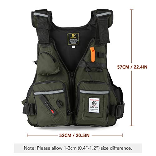 Roeam Multi-Pockets Fly Fishing Jacket Buoyancy Vest with Water Bottle Holder for Kayaking Sailing Boating Water Sports