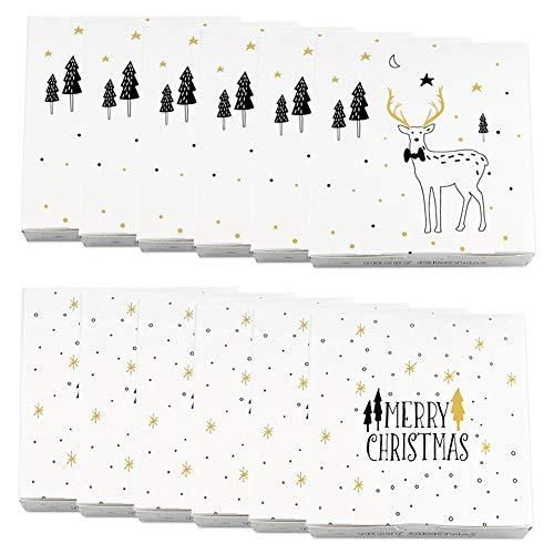 Cajas de regalo, Set de 12 piezas Cajas de regalo decorativas de cartón para vacaciones Cajas de dulces navideñas...